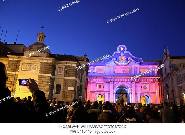 Carnival light show in piazza del popolo square in rome italy