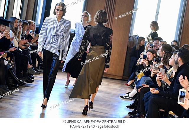 Models in the show by Antonia Goy at the Kronprinzenpalais fashion salon, as part of Berlin Fashion Week, in Berlin, Germany, 17 January 2017