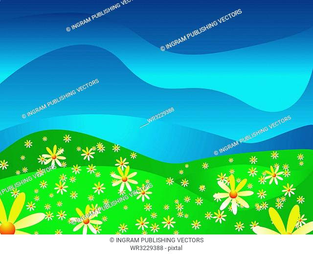 Abstract look at a summer scene with bright illustrated flowers
