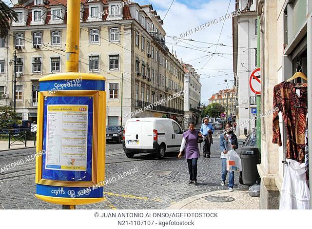 Largo do Corpo Santo transit stop. Chiado. Lisbon, Portugal