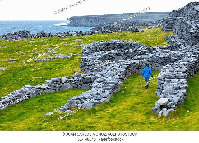 Dún Duchathair - Black Fort Cliffs  Inishmore Island, Aran Islands, Galway County, West Ireland, Europe