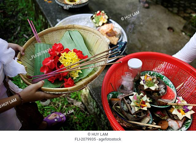 Offerings for Kuningan Festival in Bali, Indonesia