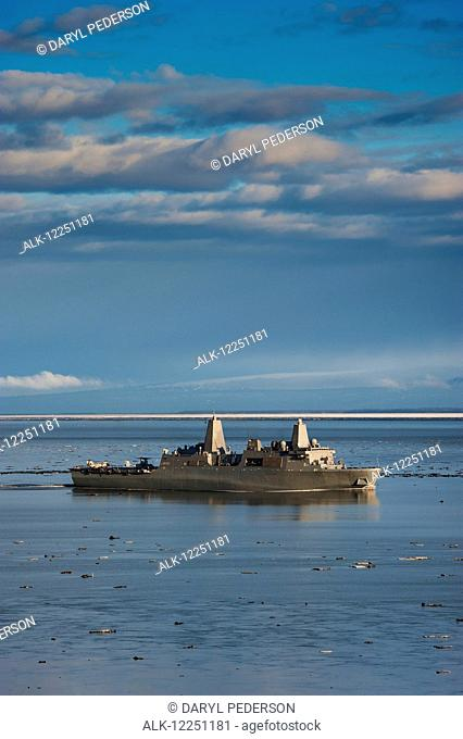 The USS Anchorage arriving in her namesake city to be commissioned, Anchorage, Southcentral Alaska