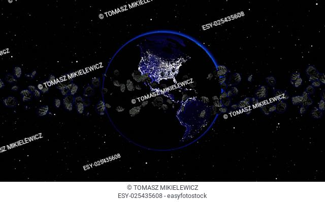 Planet Earth with asteroid in universe or space, Globe and galaxy in a nebula cloud with meteors (Elements of this 3d rendered image furnished by NASA)