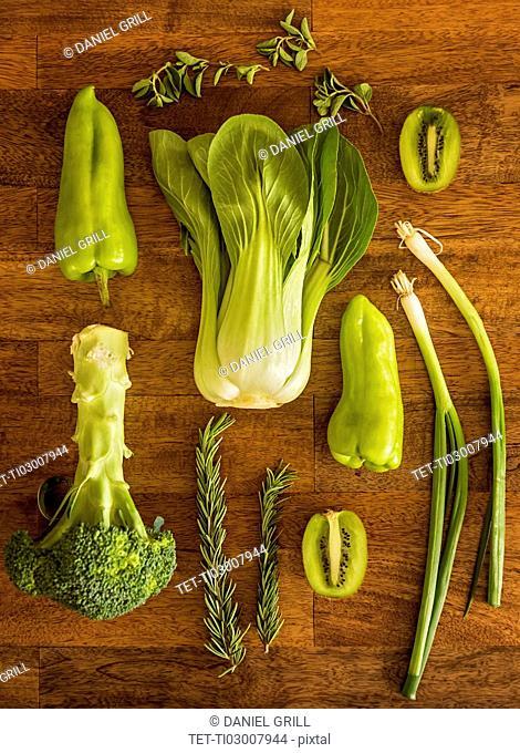 Studio shot of fruit, vegetables and herbs
