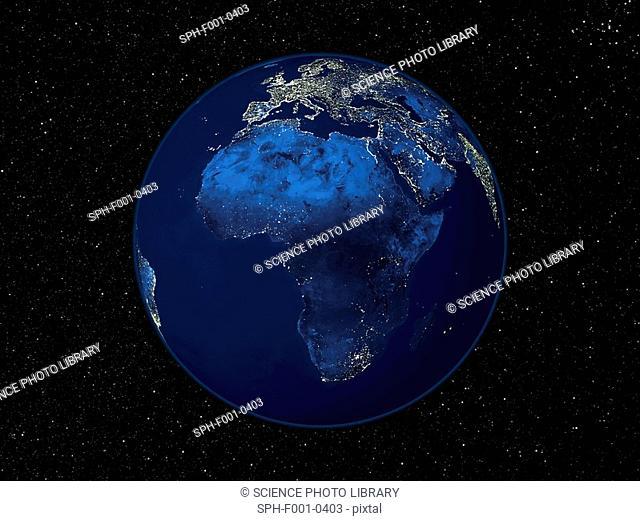 Africa at night, satellite image