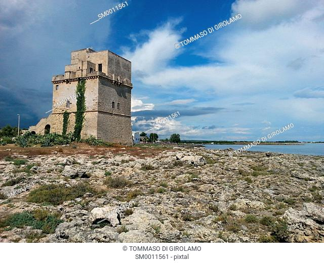 Italy, Salento, Apulia, porto cesareo, Lapillo locality, tower