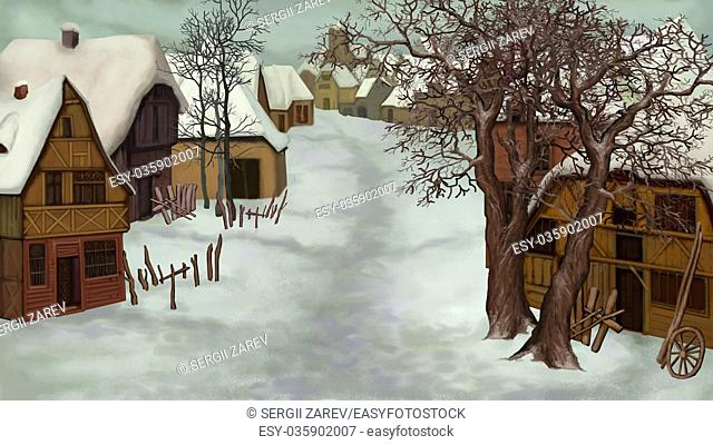 Winter Landscape of Old Dutch Village on a cloudy day. Handmade illustration in a classic cartoon style
