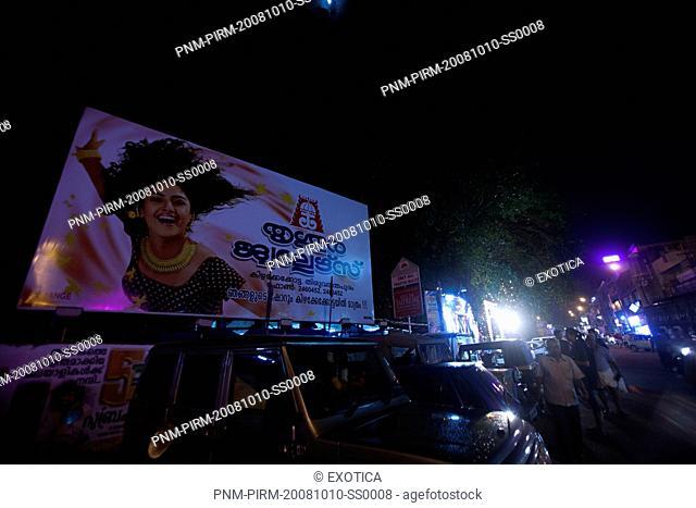 Street scene at night, Thiruvananthapuram, Kerala, India