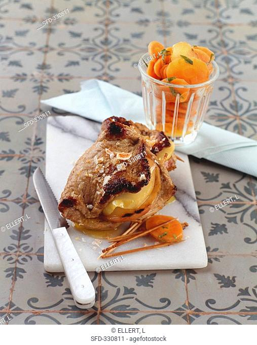 Grilled, stuffed veal escalope with carrots