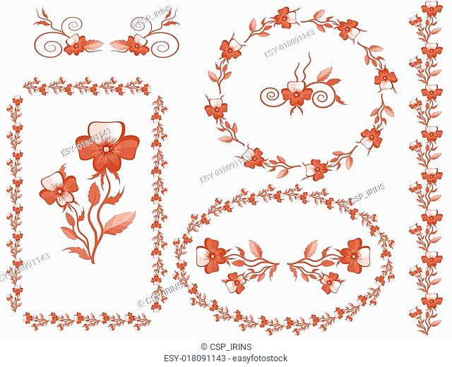 Decor with pansies, vector
