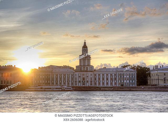 Kunstkamera Museum at sunset, Saint Petersburg, Russia