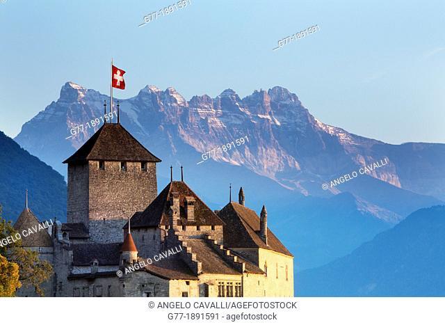 Switzerland. Canton Vaud. Lake of Geneva Lake Leman. Montreux. The Castle of Chillon