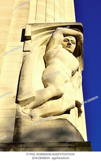 "London, England, UK. New Adelphi Building, Adam Street / Victoria Embankment. Art Deco (1938) Portland stone. """"Night"""" (Donald Gilbert)"