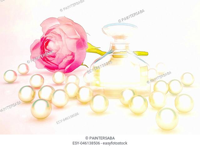 Perfume in beautiful bottle with flower and pearls