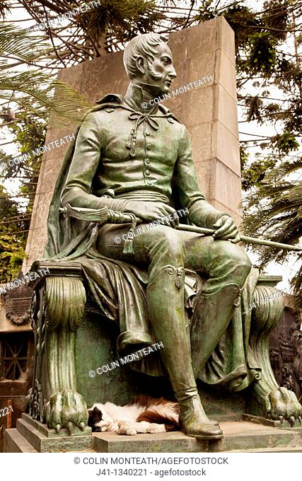 The artistry of bronze and stone statues on outside of crypts has been admired since 1822, Recoleta cemetery , Buenos Aires, Argentina