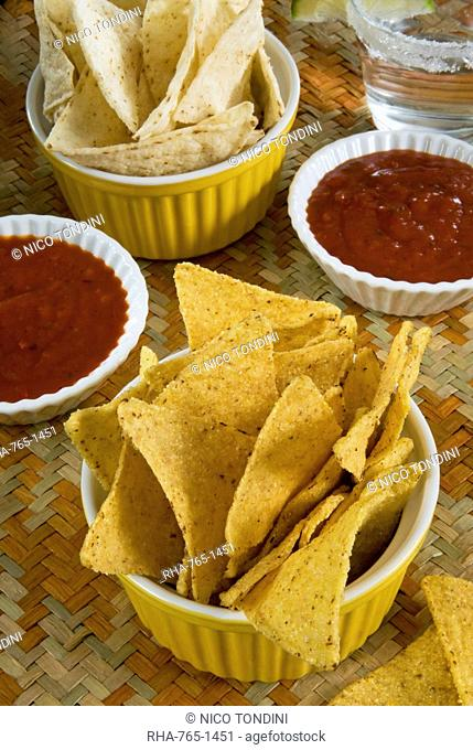 Nachos Totopos tortilla chips with chili sauce, Mexican food, Mexico, North America