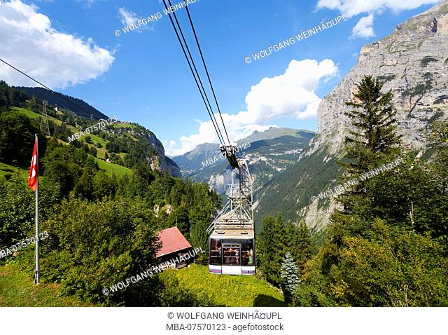 Aerial Tramway from Stechelberg to Gimmelwald, Lauterbrunnen Valley, Bernese Highlands, Canton of Bern, Switzerland
