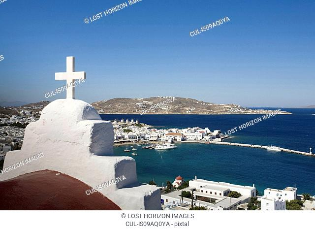 View of church roof and sea, Mykonos, Cyclades, Greece