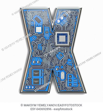 Letter X. Alphabet in circuit board style. Digital hi-tech letter isolated on white. 3d illustration