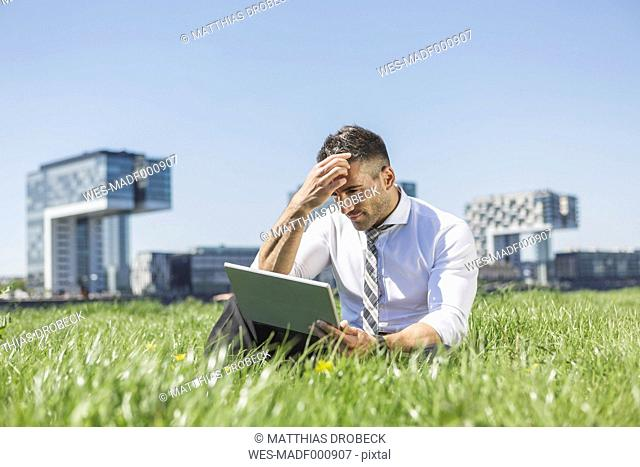 Germany, Cologne, businessman using digital tablet in meadow