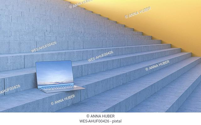 Laptop on stairs, 3d rendering