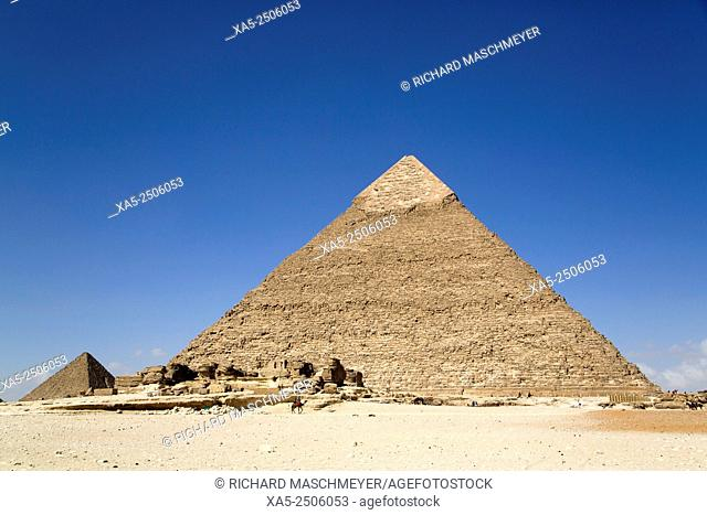 Pyramid of Chephren (foreground), The Giza Pyramids, Giza, Egypt