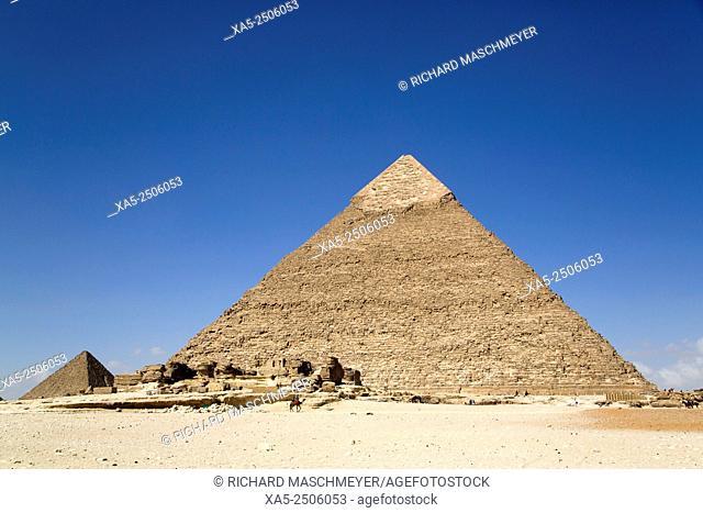 Pyramid of Chephren (foreground), The Giza Pyramids, Giza, Egypt