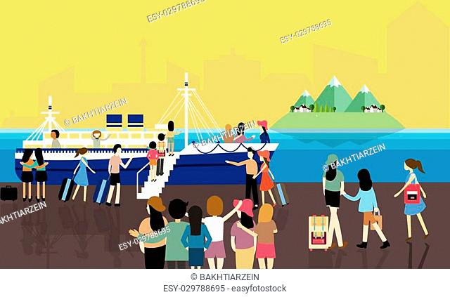 sea port busy activities people passenger entering the boat to cruise travel vector cartoon