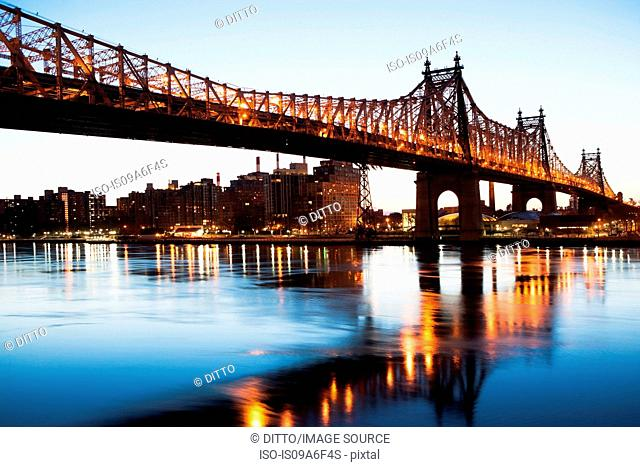 Queensboro Bridge at sunset, New York City, USA