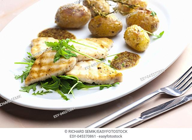 grilled cod with potatoes