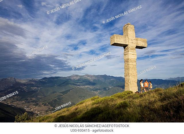 Overview of Potes town and Liebana Valley from summit of Cruz de la Viorna, next to the Picos de Europa National Park, in Cantabria, Spain