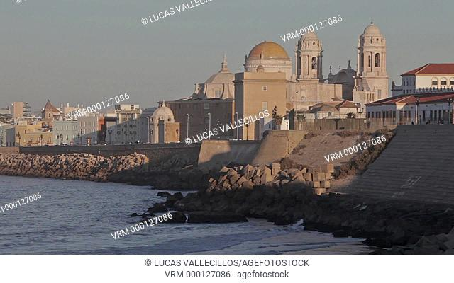 Victoria beach. In background the cathedral.Cádiz, Andalusia, Spain