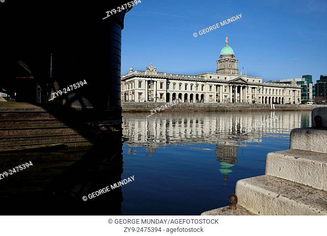 Shot from below the Loop Line Railway Bridge over the River Liffey, The Custom House, A neoclassical 18th century building designed by James Gandon, Dublin City