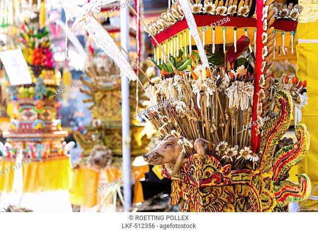 Offerings, Odalan temple festival, Sidemen, Bali, Indonesia