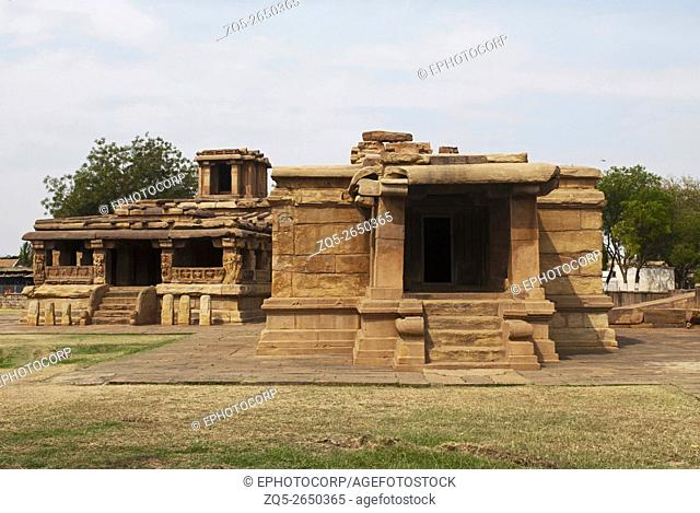 Lad Khan Temple on the left and Suryanarayana Gudi on the right, Aihole, Bagalkot, Karnataka, India