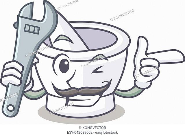 Mechanic mortar mascot cartoon style vector illustration