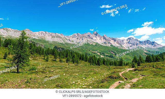 Italy, Trentino Alto Adige, San Pellegrino Pass, the landscape that can be seen from the path 628 to the cimon