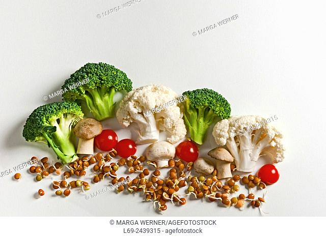 Vegetable landscape with cauliflower, broccoli, white mushroom, tomato and bed from lentil sprouts