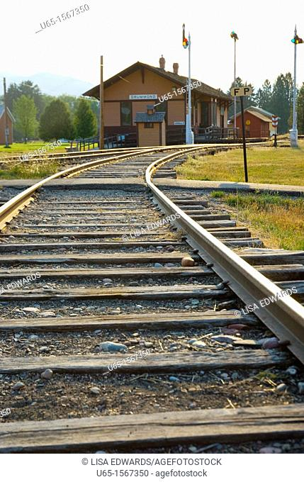 Train tracks at Fort Missoula, Montana, USA