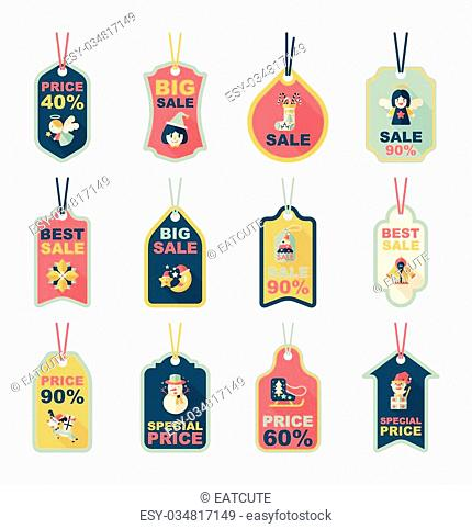 Christmas tag flat banner background set,eps10