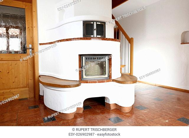 round wood stove in the room