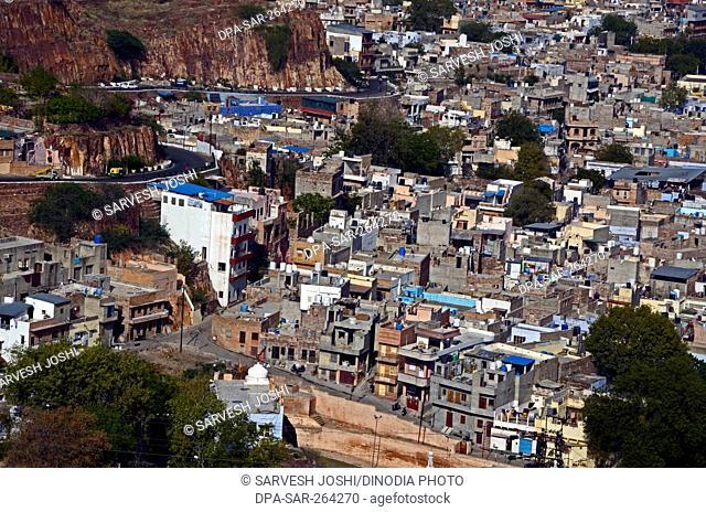 Aerial view of city, Jodhpur, Rajasthan, India, Asia