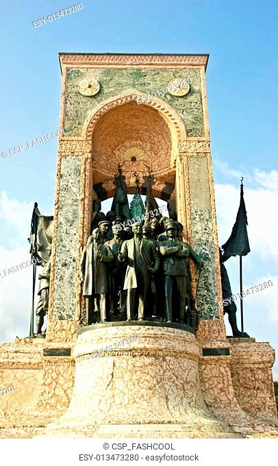 Istanbul city\'s famouse statues in the middle of taksim square