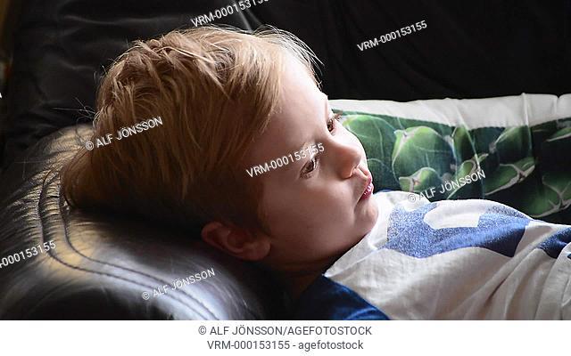 Lying boy, 4 years old