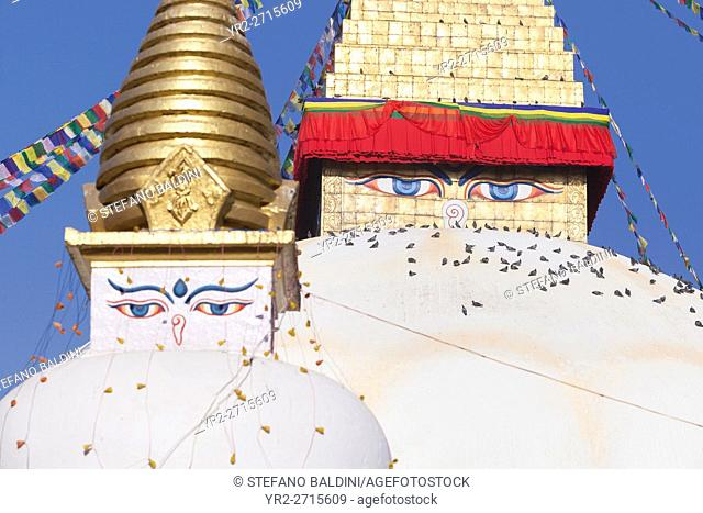 The eyes of the small and large stupa at the Boudhanath site in Kathmandu, Nepal