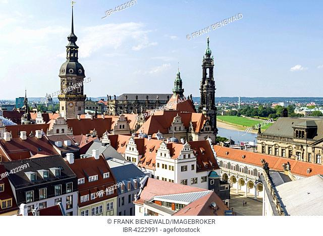Aerial panoramic view of Residenzschloß or Dresden Castle with Hausmannsturm tower and Hofkirche church in historic centre, Dresden, Saxony, Germany