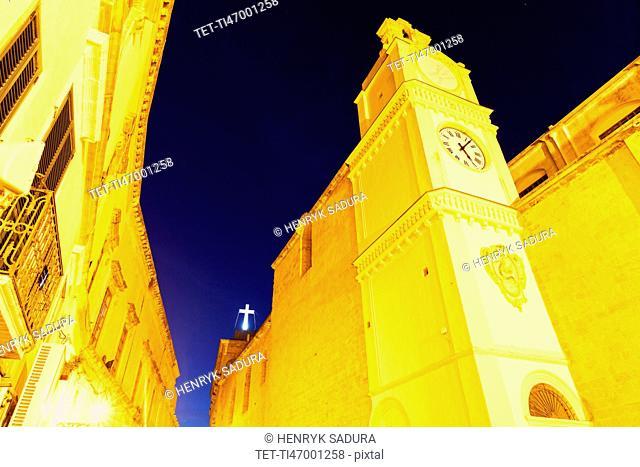 St. Agatha Cathedral illuminated at night