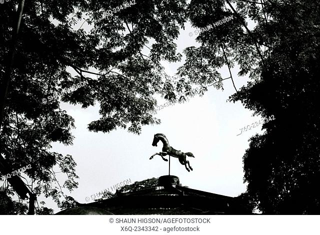 Galloping horse statue in Solo Surakarta in Java in Indonesia in Southeast Asia Far East