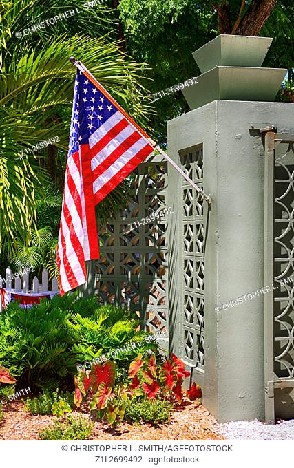 American flag outside the Edison & Ford Winter Estates in Fort Myers, FL for July 4th